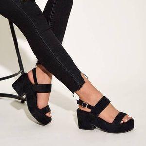 Black Open Toe Slingback Chunky Heels NWB